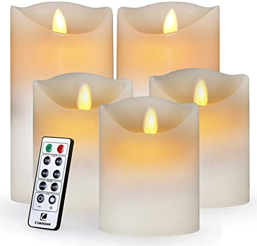 Comenzar Flameless Led Realistic Moving Set of 5(H4 4' 4' 6' 6' xD3.25) Flickering Candles Battery Operated Candles with Remote Timer