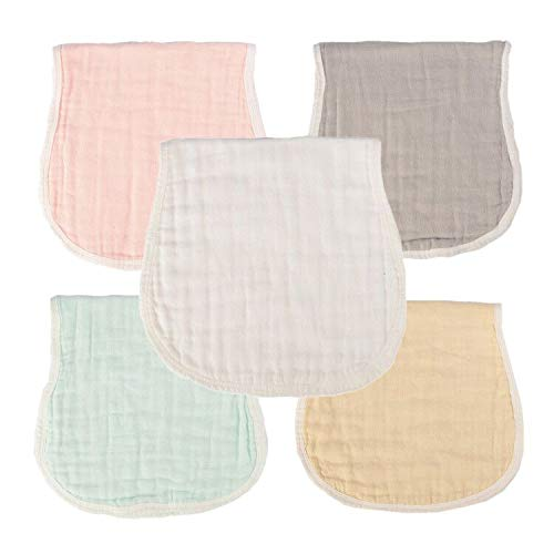 MUKIN Muslin Burp Cloths - Baby Burp Cloth Sets for Unisex. Perfect for Newborn Baby Burping Cloths/Burp Bibs. Newborn Burping Rags for Boys and Girls(Multicolored,5 Pack)