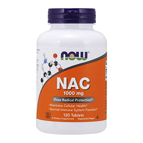 NOW Supplements, NAC (N-Acetyl-Cysteine) 1,000 Mg, Free Radical Protection, 120 Tablets