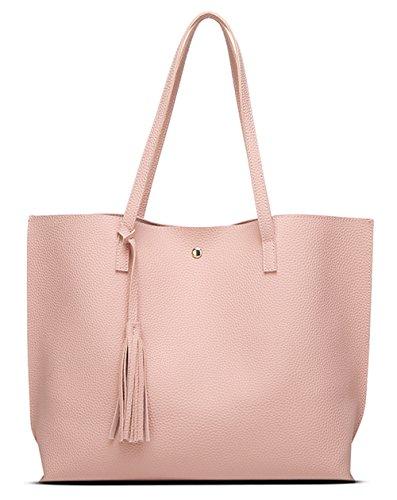 Women's Soft Faux Leather Tote Shoulder Bag from Dreubea, Big Capacity Tassel Handbag Pink