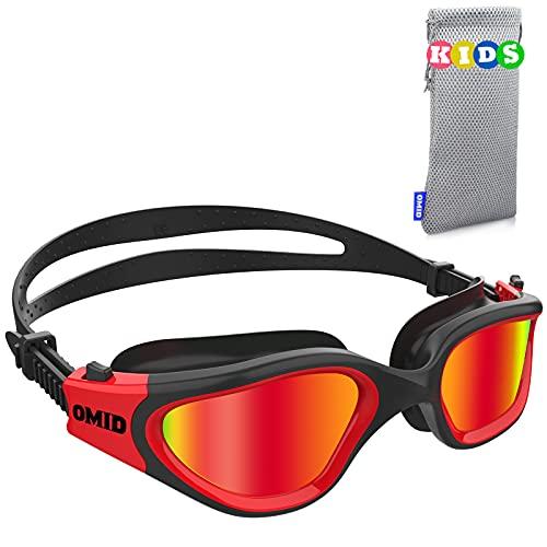 Kids Swim Goggles, OMID P2 Comfortable Polarized Unisex-child Swimming Goggles, Anti-Fog No Leaking Swim Goggles with UV Protection Age 6-14 (Black Red)