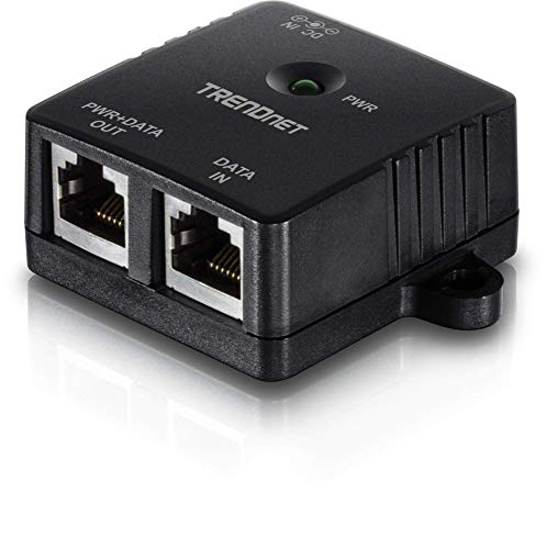 TRENDnet Gigabit Power Over Ethernet Injector, TPE-113GI, Full Duplex Gigabit Speeds,1 x Gigabit Ethernet Port, 1 x PoE Gigabit Ethernet Port, Network Devices Up to 100M (328 ft.), 15.4W, Plug & Play,Black