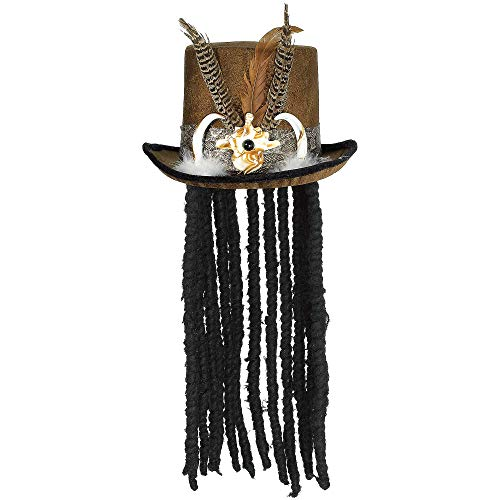 AMSCAN Witch Doctor Top Hat with Dreads Halloween Costume Accessories, One Size