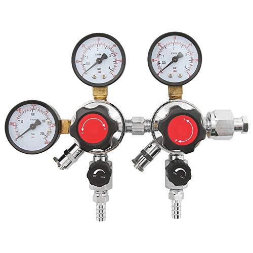 HYDDNice 2 Stage CO2 regulator Dual Pressure Beer Gauge CO2 Regulator 0-60 PSI Working Pressure CGA-320 Inlet 3/8'Outlet Gas 0-3000PSI