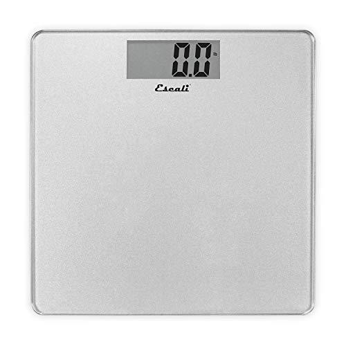 Escali B200S Glass Platform Bathroom Body Scale, Low Profile, LCD Digital Display, 440lb Capacity, Silver
