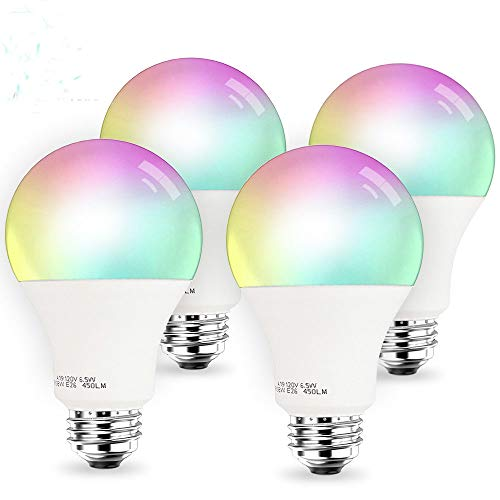 Smart LED Light Bulb, 3Stone A19 Dimmable 7W(60W Equivalent) 2.4G Wi-Fi Smart RGB Multicolor Voice Controlled Bulb, Warm White(2700K), Works with Alexa and Google Assistant(No Hub Required) (4 Pack)