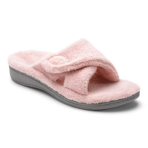 Vionic Women's Indulge Relax Slipper - Ladies Comfortable Cozy Adjustable House Slippers with Concealed Orthotic Arch Support Pink 10 Medium US