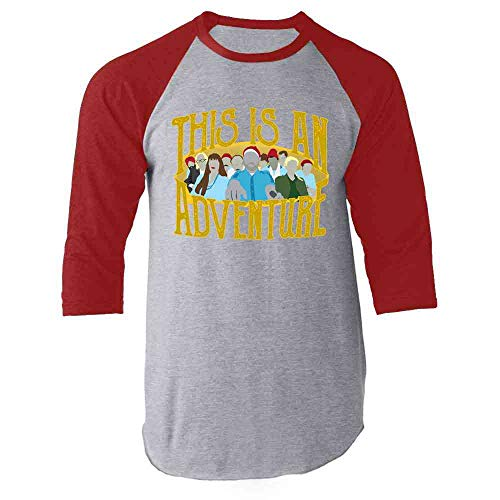 This is an Adventure Minimalist Red L Raglan Baseball Tee Shirt