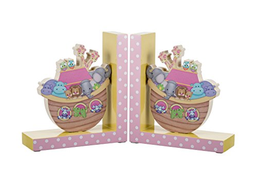 Borders Unlimited Noah's Pastel Pairs The Ark Wooden Children's Bookends, Multicolor