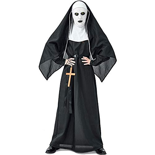 Spirit Sister Nun Fancy Dress Costume, Gothic Nun Costume, Dress and Headpiece - for Halloween Party, Costume Party, Carnival - for Height of 170-180cm