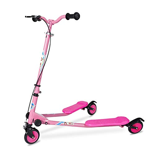 AODI Kids Foldable Swing Scooter Adjustable Height Kick Speeder Wiggle Scooters Self Push Drift for Boys/Girl/ 5 Years Old and Up