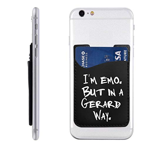 I'm Emo But in A Gerard Way Phone Card Holder, Stick-on ID Credit Card Wallet Phone Case Pouch Sleeve Pocket for iPhone, Android and All Smartphones