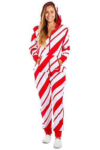 Tipsy Elves Cozy Women's Candy Cane Jumpsuit - Comfy Candy Cane Cozy Christmas Onesie: S