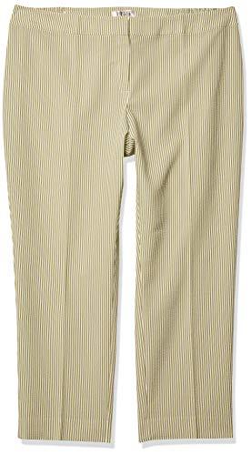 Kasper Women's Plus Size Stripe Seersucker Pant, Honeydew Multi, 18W