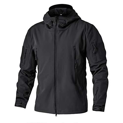 TACVASEN Men's Military Softshell Tactical Jacket Hooded Fleece Coat Black