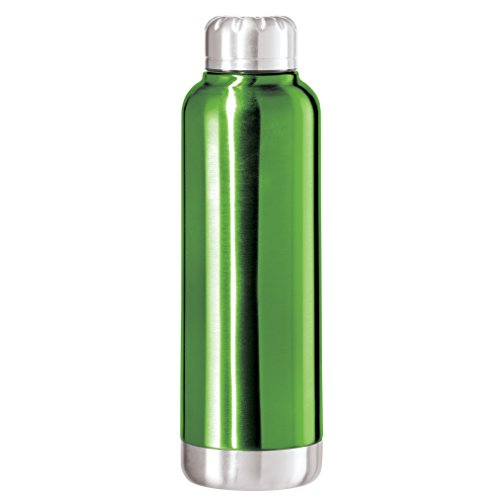 Oggi Fiesta Lustre Double Wall Sealed Stainless Steel Sport Bottle with with Screw Top ( 0.75 lite, 25oz)-Green
