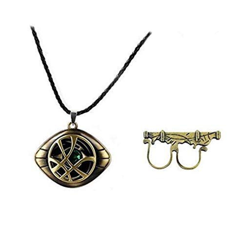 Bo Feng 2Pack Doctor Strange Sling Cosplay Ring Props Magic Punk Power Ring with Necklace