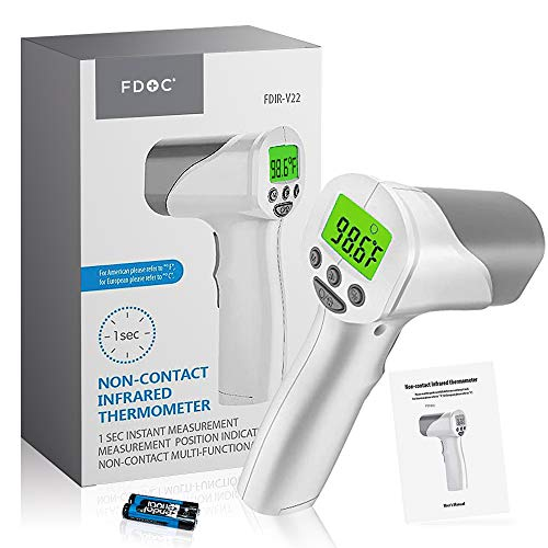 FDoc Non-Contact Forehead Thermometer Infrared IR Digital Medical Body Laser Gun to Measure Temperature Fever, FDA Cleared, Instant Results, Feature Rich, Auto Power Off, for Adults, Babies