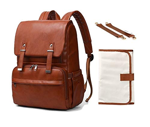 Baby diaper bag backpack. PU Leather diaper bag for baby girls, boys or twins. Ideal maternity baby bag for moms, dads. Good travel bag. Has stroller straps, nappy changing pad. Waterproof