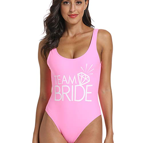 Bestag Team Bride Letter Print Diamond Pattern One Piece Swimsuit Bathing Suits (Pink, Small)