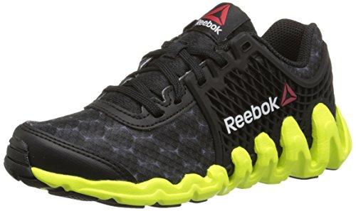 Reebok Zigtech Big N Fast EX Running Shoe (Little Kid/Big Kid), Black/Solar Yellow, 11 M US Little Kid