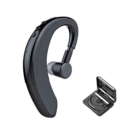 Bluetooth Headset V5.0 Single Wireless Earhook Bluetooth Earpiece Earphone with 1200mAh Charging Case Built-in Microphone Noise Cancelling 10H Playtime Business Bluetooth Earbud Headphones
