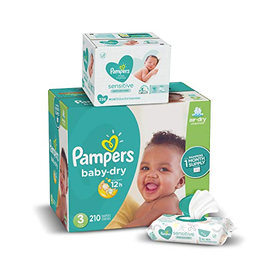 Diapers Size 3, 210 Count and Baby Wipes - Pampers Baby Dry Disposable Baby Diapers, ONE MONTH SUPPLY with Baby Wipes Sensitive 6X Pop-Top Packs, 336 Count (Packaging May Vary)
