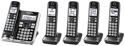 Panasonic Link2Cell Bluetooth Cordless Phone System with Voice Assistant, Call Block and Answering Machine, Expandable Home Phone with 5 Handsets – KX-TGF575S (Black with Silver Trim)