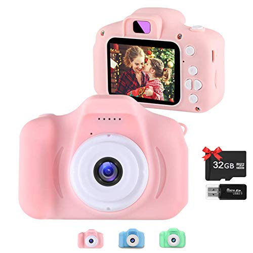 Kids Camera for Girls and Boys,Toddler Toys Digital Dual Camera 20.0MP IPS 2.0 Inches Screen Children Video Camera Gift Toys for 3 4 5 6 7 8 9Years Old - 32GB Memory Card Included (Pink)