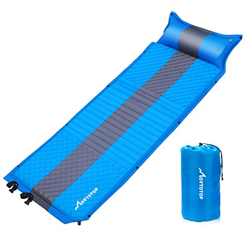 MOVTOTOP Sleeping Pad for Camping,【2020 Newest】 Foam Self-Inflating Ultralight Thicken Sleeping Mat with Attached Pillow, Perfect Gear for Hiking, Traveling and Backpacking (Self-Inflating)