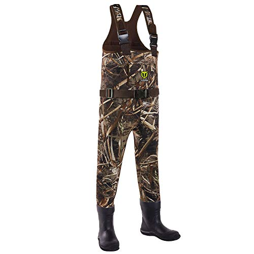 TIDEWE Chest Waders for Toddler & Children, Neoprene Waterproof Insulated Hunting & Fishing Youth Waders for Boy and Girl, Cleated Bootfoot Kids Wader, Realtree MAX5 Camo (Size 14)