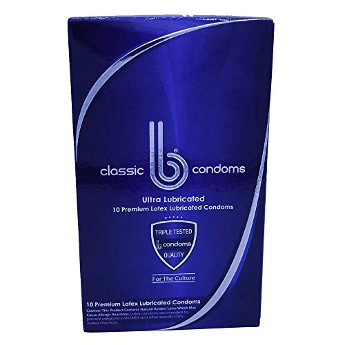 B CONDOMS Classic – Best Premium FIT Thin Ultra Lubricated Latex Condom for Men Wanting HIGH Quality Performance – Non-Toxic ODORLESS Condoms