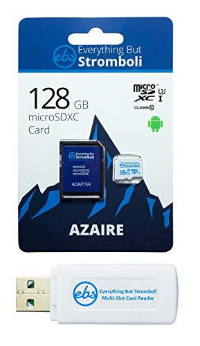 Everything But Stromboli 128GB Azaire MicroSD Memory Card for Samsung Galaxy Tablet Works with Tab S4 10.5, Tab A 8.0 2019, Tab A 7.0 Speed 10 U3 UHS-1 SDXC Card Bundle with (1) Micro SD Card Reader