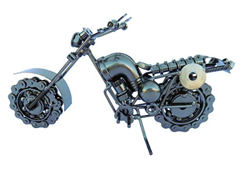 col-p Professional Handmade Old Fashion Motorcycle Chopper Bike Harley Figure 10' Hybrid Scrap Welded Metal Sculpture Made of Screws,Bolts,Nuts (Motorcycle Chopper Bike Style 2)