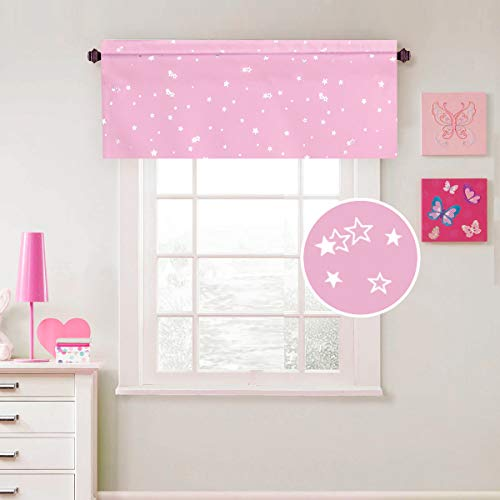 H.VERSAILTEX Blackout Energy Efficient Rod Pocket 52-inch by 18-inch Curtain Valance for Kitchen, Bath, Laundry, Bedroom, Living Room, Glitter Stars in Pink Base, 1 Piece