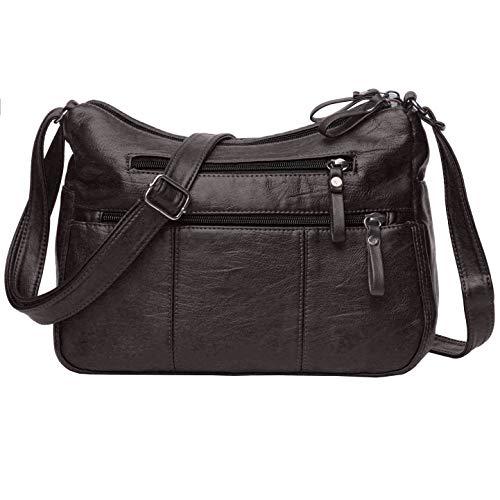Volcanic Rock Women Crossbody Bag Pocketbooks Soft PU Leather Purses and Handbags Multi Pocket Shoulder Bag (Chocolate-11.8')