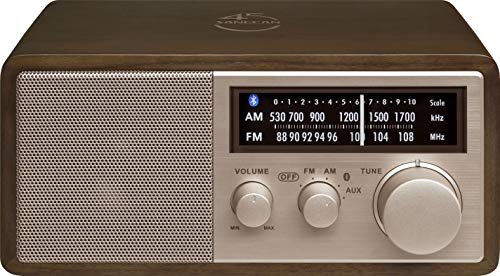 Sangean WR-16SE 45th Anniversary Special Edition AM/FM/Bluetooth/Aux-in/USB Phone Charging Dark Walnut Wooden Cabinet Radio with Rose Gold Face Plate