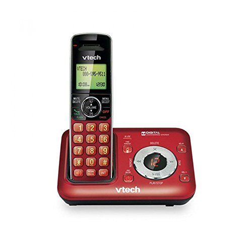 VTech CS6429-16 DECT 6.0 Expandable Cordless Phone with Answering System and Caller ID, 1 Handset, Red