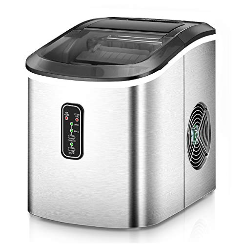 Euhomy Ice Maker Machine Countertop, Makes 26 lbs Ice in 24 hrs-Ice Cubes Ready in 8 Mins, Compact&Lightweight Ice Maker with Ice Scoop and Basket. (Silver)