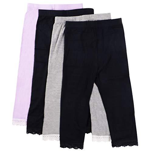 MyKazoe Girls Ultra Soft Seamless Capri Leggings with Lace Trim (Set of 4) (7, Basics (Black x 2, Grey, Lavender))