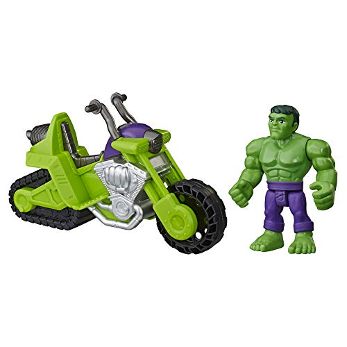 Super Hero Adventures Playskool Heroes Marvel Hulk Smash Tank, 5-Inch Figure and Motorcycle Set, Toys for Kids Ages 3 and Up