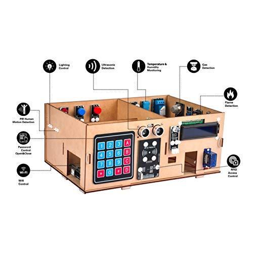 OSOYOO IoT Wooden House Learner Kit for Arduino MEGA2560 | Electronic kit STEM Set for Learning Internet of Things, Mechanical Building, How to Code | Educational Coding for Kids Teens Adults