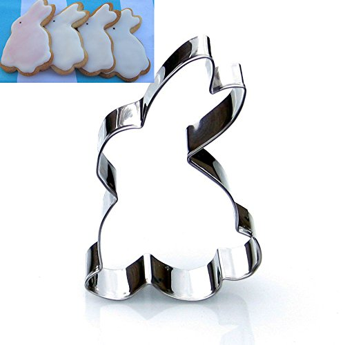 CXFashion Stainless Steel Animal Rabbit Cookie Cutters for Easter Day, Baking Mould Fondant Bread Cutters for Kids - Bunny Shape