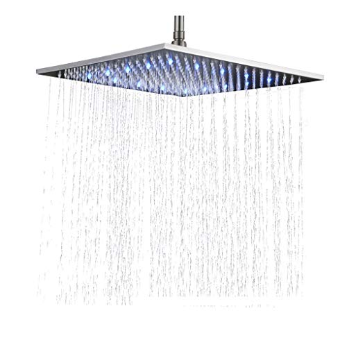 Rozin Bathroom Replacement 16-inch Square Rainfall Shower Head LED Colors Top Sprayer Brushed Nickel Finish