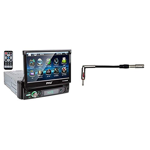 """Pyle Single DIN Head Unit Receiver - in-Dash Car Stereo with 7"""" Multi-Color Touchscreen Display - Audio Video System with Bluetooth for Wireless Music Streaming & Metra 40-GM10 GM Antenna Adapter"""