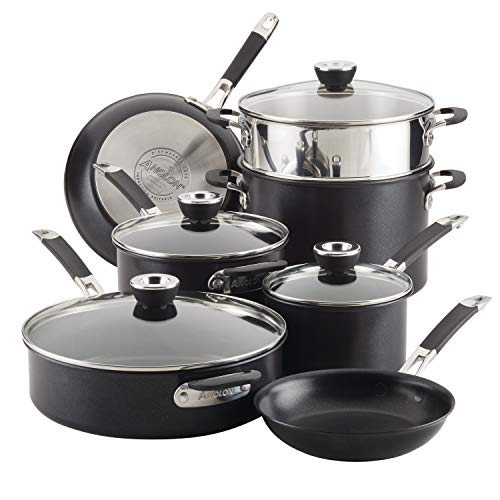 Anolon Smart Stack Hard Anodized Nonstick Cookware, 11 Piece Set, Black