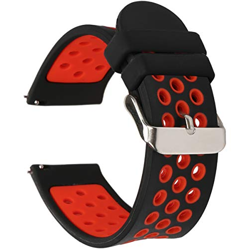 Universal 18mm 20mm 22mm 24mm Width Silicone Watch Band Replacement (22mm, Black-Red)