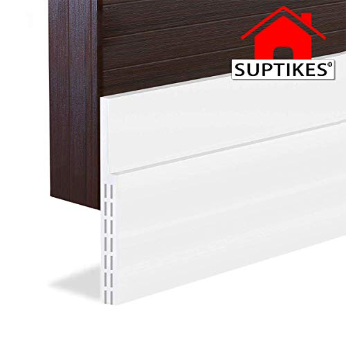 [New Upgrade] Huge Gap Door Draft Stopper, 3-2/5'W Widened Door Sweep Seal Gap Up to 1-4/5' for Interior & Exterior Doors - Keeping Draft, Noise, Dust and Unwanted Animals Out,3-2/5'W x 39'L,White