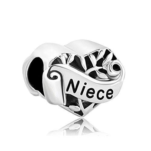 CharmSStory I Love You Niece Heart Family Sterling Silver Beads Charm For Bracelets (Niece)