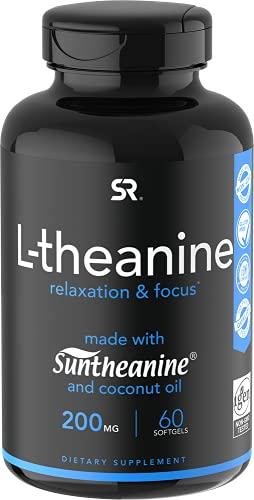 Suntheanine L-Theanine 200mg (Double-Strength) in Cold-Pressed Organic Coconut Oil; Non-GMO & Gluten Free - 60 Liquid Softgels